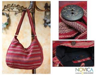 Cotton 'Garnet Synchronicity' Hobo Bag (Guatemala)