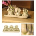 Set of 3 Celadon Ceramic 'Elephant Life Lessons' Figurines  , Handmade in Thailand