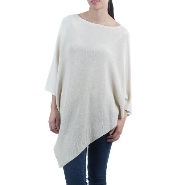 Women's Cotton 'Ivory Grace' Poncho (Guatemala)