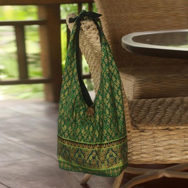 Cotton 'Royal Thai Emerald' Sling Tote Bag (Thailand)