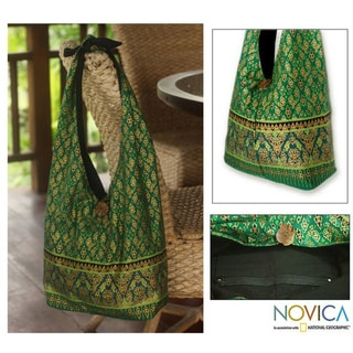 Cotton 'Royal Thai Emerald' Sling Tote Bag (Thailand)