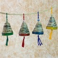 Set of 4 Recycled Paper 'Bells of Hope and Joy' Ornaments  , Handmade in Guatemala