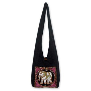 Cotton 'Pink Elephant' Sling Tote Bag (Thailand)