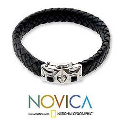 Men's Leather 'Romeo' Onyx Bracelet (Indonesia)