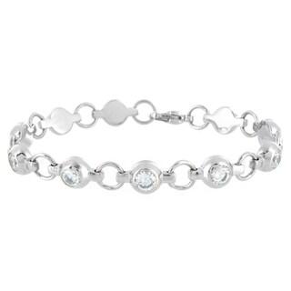West Coast Jewelry Stainless Steel Polished Cubic Zirconia Chain Bracelet
