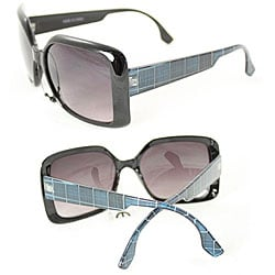 Women's Emerald Plaid Vintage Square Sunglasses