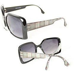 Women's Silver Plaid Vintage Square Sunglasses