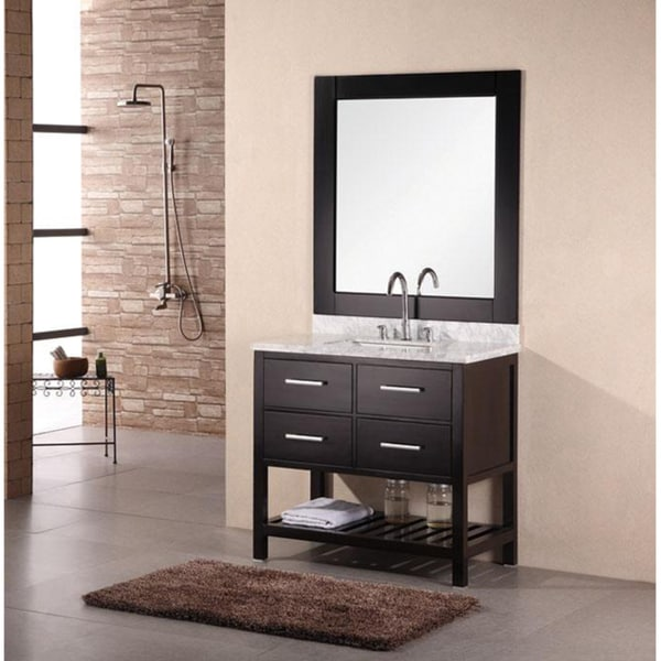 Design Element Jasper Single Marble Bathroom Vanity Cabinet