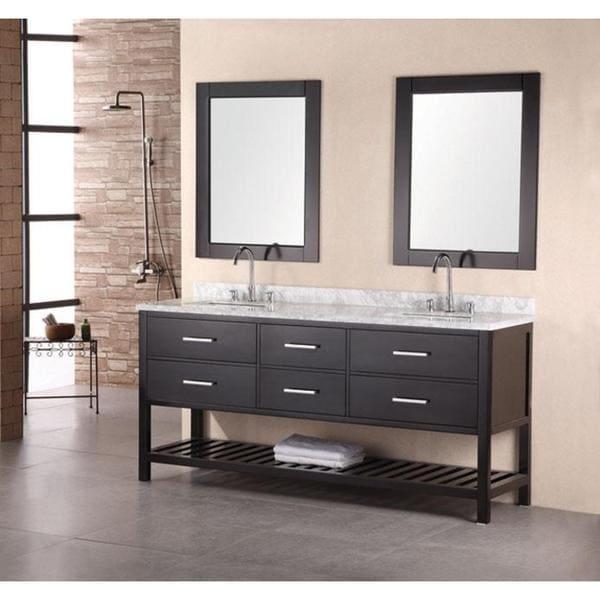 Design Element Jasper Modern Double Bathroom Marble Vanity Cabinet- with faucet