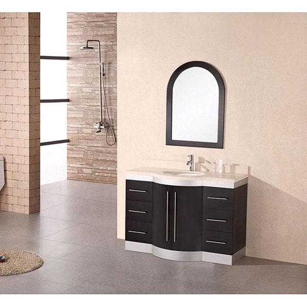 Design Element Tuscany Single Sink Beige Stone Bathroom Vanity