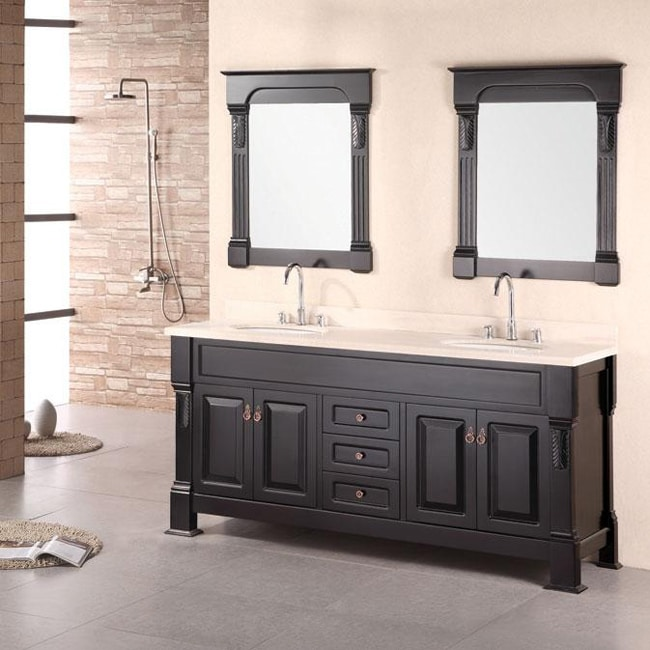 design element marcos solid wood double sink bathroom