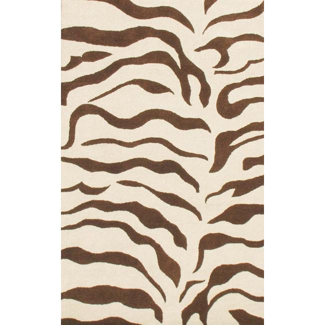 nuLOOM Handmade Animal Pattern Brown/ Ivory Zebra Wool Rug (4' x 6')