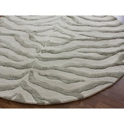 nuLOOM Handmade Animal Pattern Grey/Ivory Zebra Wool/ Viscose Rug (6' Round)