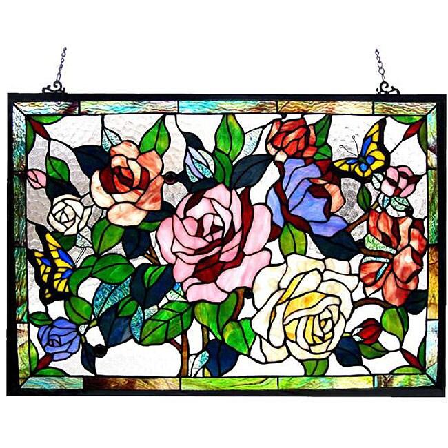 Floral Design Glass Bronze Window Panel