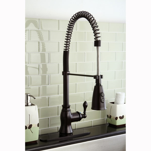 Classic Modern Oil Rubbed Bronze Spiral Pulldown Kitchen Faucet image