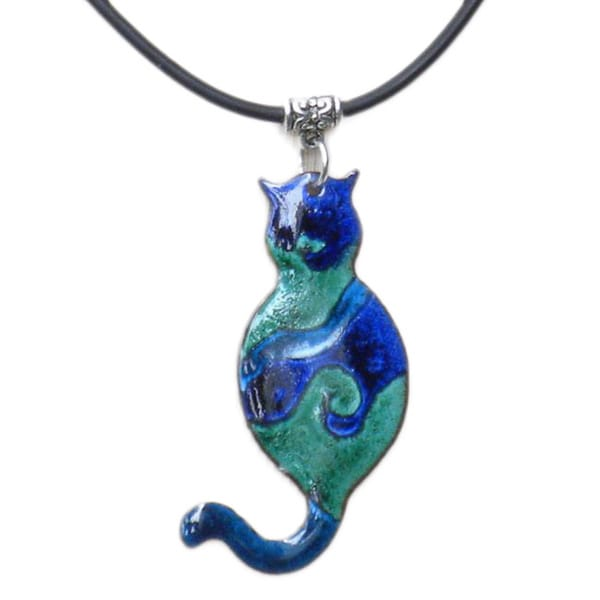 Enamel on Copper Cat Necklace (Chile)