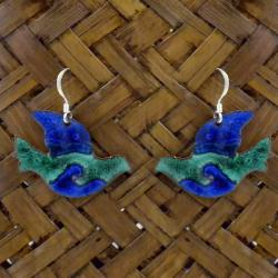 Enamel on Copper Peace Dove Earrings (Chile)