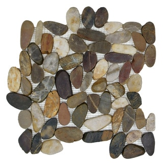 SomerTile 11.75x11.75-in Riverbed Flat Multi Natural Stone Mosaic Tile (Pack of 10)