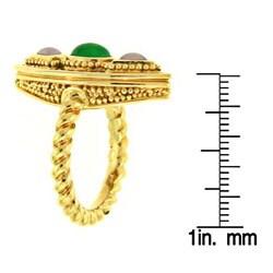 Mason Kay 18k Yellow Gold Natural Green and Lavender Jadeite Ring