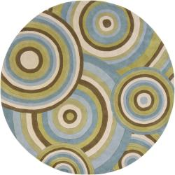 Hand-tufted Mandara Multicolor Wool Rug (7'9 Round)