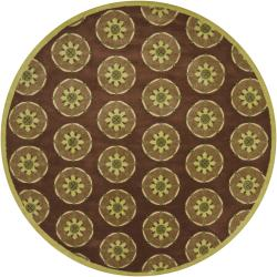 Hand-tufted Mandara Brown Wool Border Rug (7'9 Round)