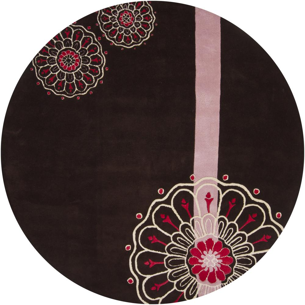 Hand-tufted Mandara Black Wool Floral Rug (7'9 Round)