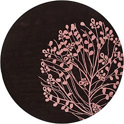 Hand-Tufted Mandara Brown/Pink New Zealand Wool Rug (7'9 Round)