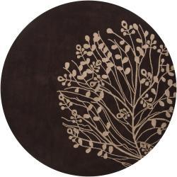 Hand-Tufted Mandara Brown/Beige New Zealand Wool Rug (7'9 Round)