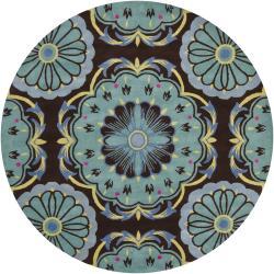 Hand-Tufted Floral Mandara Brown New Zealand Wool Rug (7'9 Round)