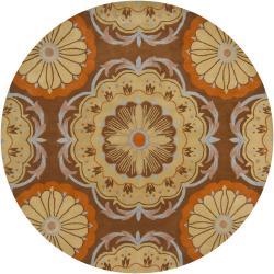 Hand-Tufted Mandara Brown/Orange/Beige New Zealand Wool Rug (7'9 Round)