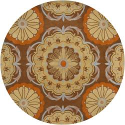 Hand-Tufted Mandara Brown/Orange/Beige New Zealand Wool Rug (7'9 Round)
