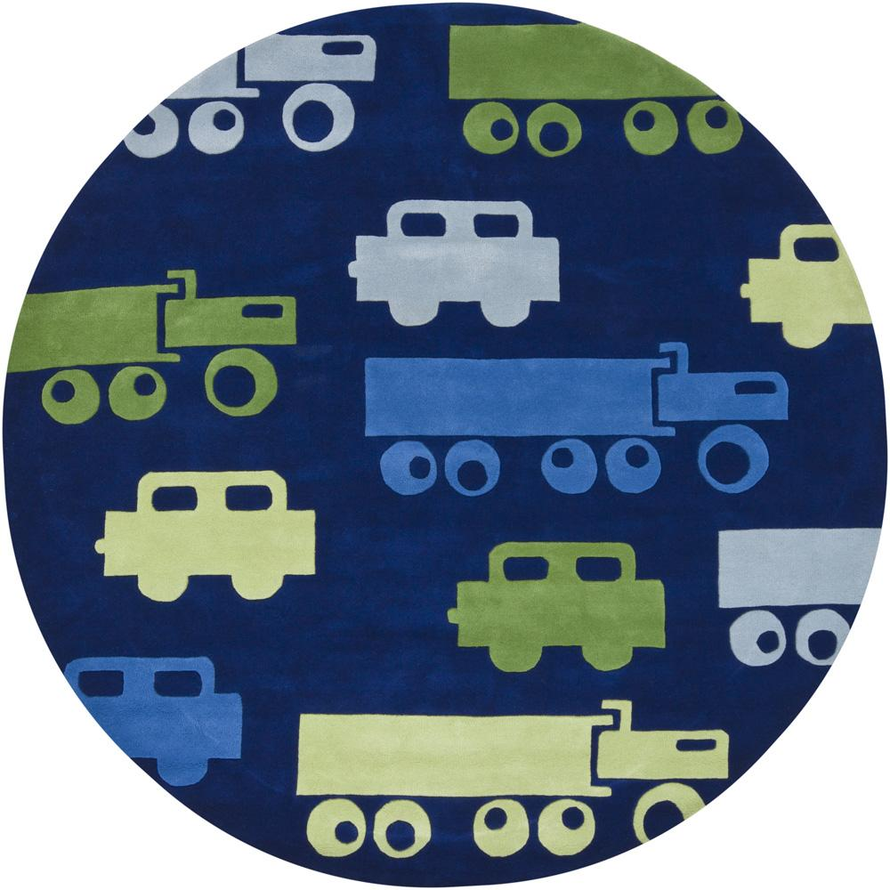 "Hand-Tufted Mandara Kids Blue New Zealand Wool Rug (7'9"" Round)"