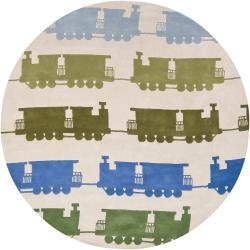 Hand-Tufted Mandara Ivory New Zealand Wool Train Pattern Rug (7'9 Round)
