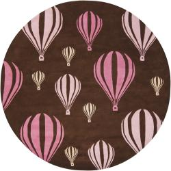 Hand-Tufted Whimsical Mandara Brown New Zealand Wool Rug (7'9 Round)