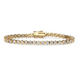 "PalmBeach 5 TCW Round Cubic Zirconia Tennis Bracelet 18k Gold over Sterling Silver 7 1/4"" Classic CZ"