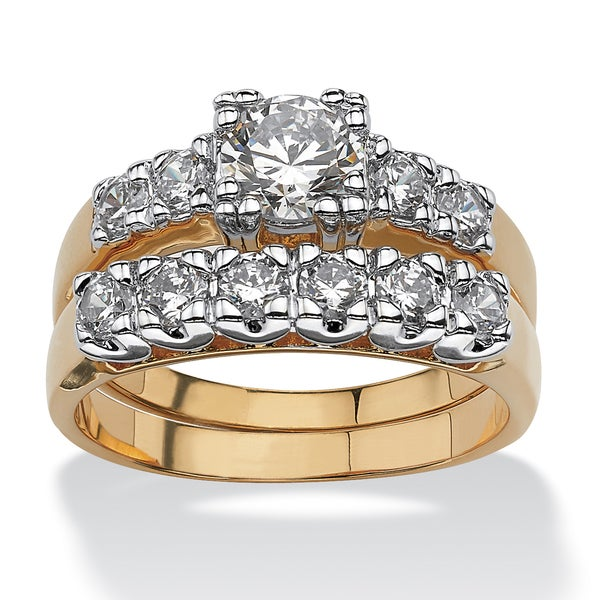 PalmBeach 2 Piece 2.15 TCW Round Cubic Zirconia Bridal Ring Set in 14k Gold-Plated Classic CZ