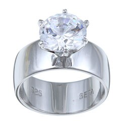 Ultimate CZ Sterling Silver Round Cubic Zirconia Solitaire Ring