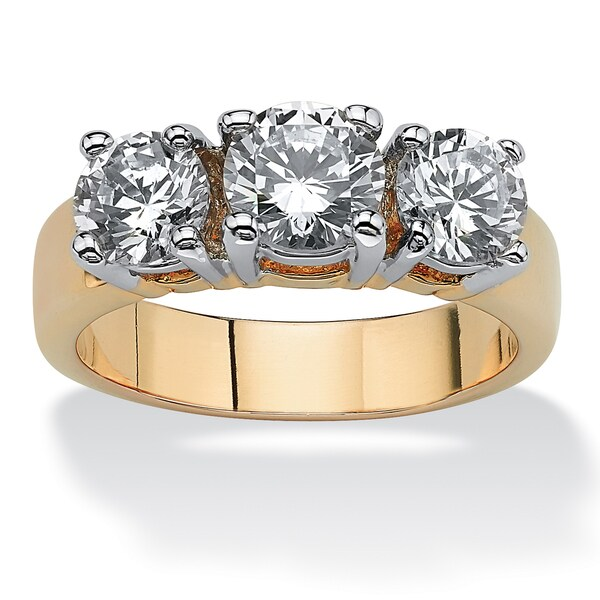 PalmBeach 2.28 TCW Round Cubic Zirconia Three-Stone Anniversary Ring 14k Gold-Plated Classic CZ