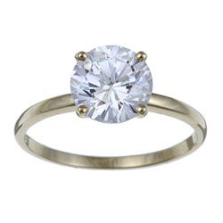 Ultimate CZ 10K Yellow Gold Prong-set Cubic Zirconia Ring