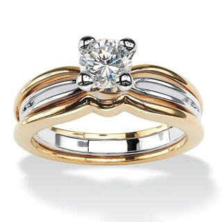 PalmBeach CZ Gold Overlay White Square-cut Cubic Zirconia Engagement Ring Classic CZ