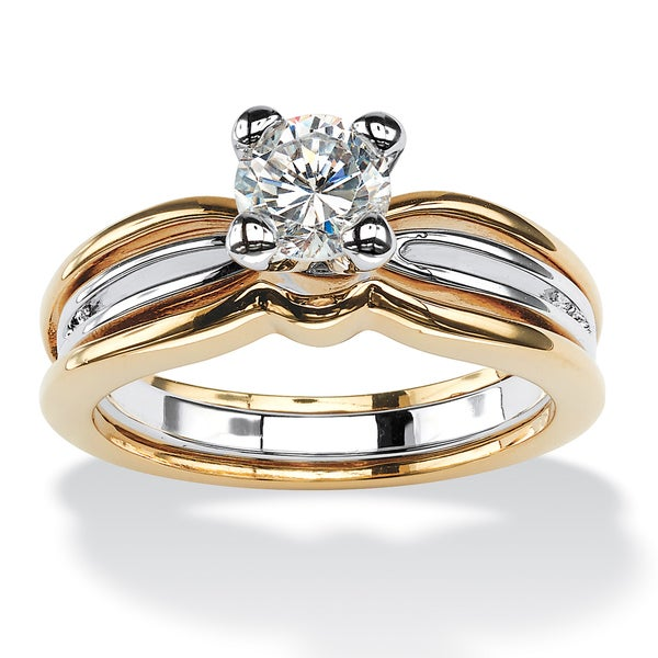 PalmBeach 1 TCW Round Cubic Zirconia Solitaire Engagement Ring in 18k Gold-Plated Classic CZ