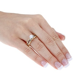 Ultimate CZ Gold Overlay White Square-cut Cubic Zirconia Engagement Ring