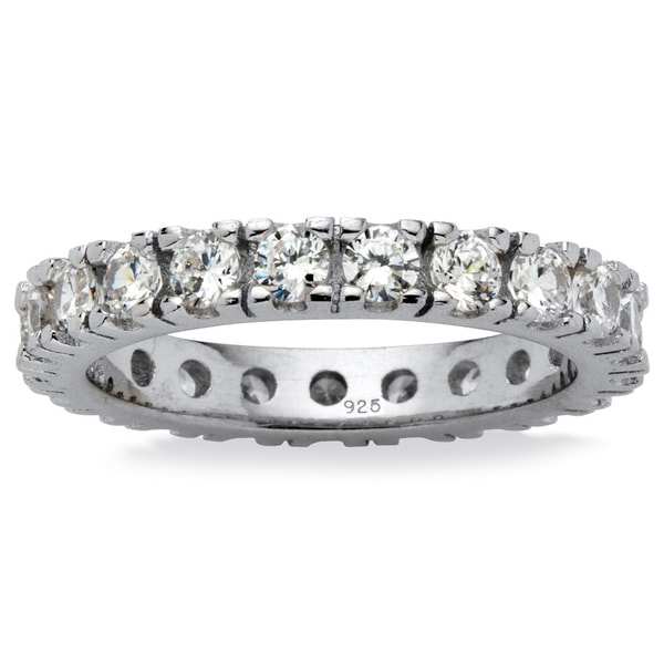 PalmBeach 2 TCW Round Cubic Zirconia Eternity Band in Sterling Silver Classic CZ