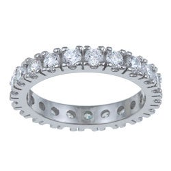 PalmBeach Stackable CZ Sterling Silver Cubic Zirconia Eternity Band Classic CZ