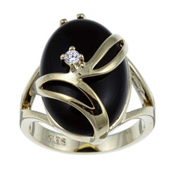 Angelina D'Andrea 14k Yellow Gold Overlay Onyx and Crystal Fashion Ring
