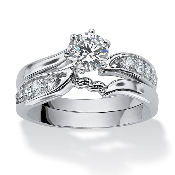 PalmBeach 2 Piece .86 TCW Round Cubic Zirconia Bridal Ring Set in Sterling Silver Classic CZ