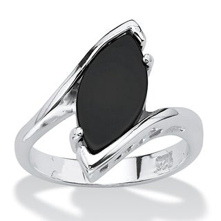PalmBeach Marquise-Shaped Genuine Onyx Sterling Silver Classic Ring Naturalist