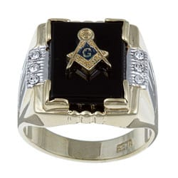 Neno Buscotti 14k Gold Overlay Men's Masonic Onyx and Crystal Ring