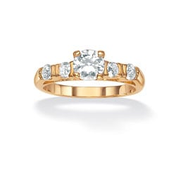 Ultimate Highly Polished CZ 14k Gold Overlay Round-cut Cubic Zirconia Bridal Ring Set