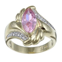 Lillith Star 14k Gold Overlay Pink Ice and White Cubic Zirconia Ring